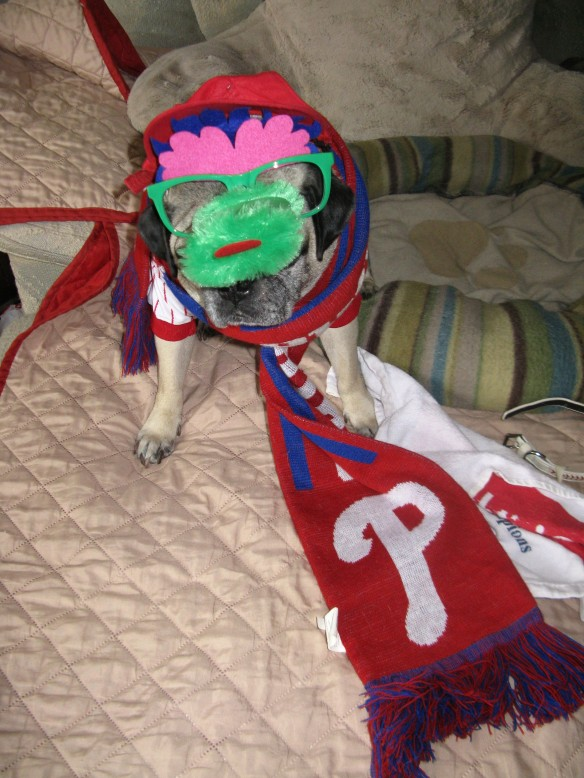 Got my jersey, cap, rally towel, Phanatic glasses, collar, scarf...oh I forgot my gloves and my necklace. Darn, that must be it!