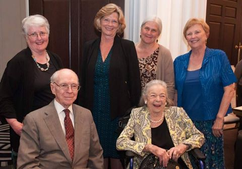 RINGING ENDORSEMENT Annette Shimer, Susan Carty, Carol Kuniholm, and Eileen Olmsted join beloved Pittsburgher and philanthropist Elsie Hillman (bottom right) and her husband, Henry, as she accepts the Justice Bell Award from the League of Women Voters. Held at the Hotel Monaco on June 5, the award was named after the Justice Bell, an exact replica of the Liberty Bell. In 1915 it became an iconic symbol of the woman's suffrage movement in Pennsylvania. Read more: http://triblive.com/lifestyles/…/8481665-74/heart-event-red… photo by Michael Mancini | for trib total media